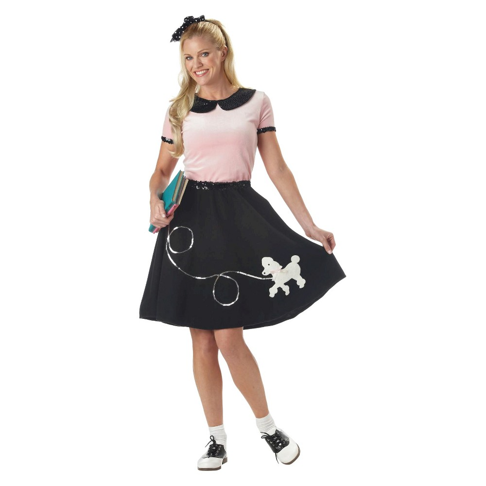 Image of Halloween Adult 50's Hop With Poodle Skirt Costume - Medium, Women's, Black