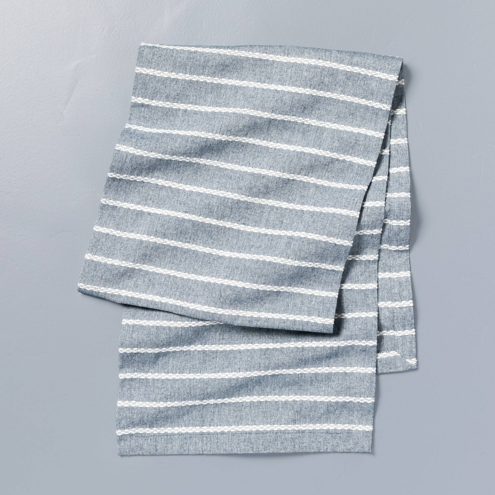 Dobby Ribbed Table Runner Faded Blue Hearth 38 Hand 8482 With Magnolia
