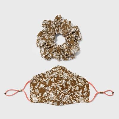Women's Ruffle Trim Face Mask + Hair Twister - Universal Thread™ Linen Blend  One Size