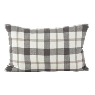 """12""""x20"""" Plaid Pillow Down Filled Gray - SARO Lifestyle"""