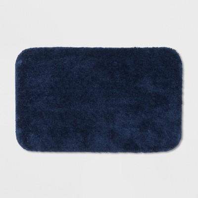"20""x32"" Solid Bath Rug Navy Blue - Room Essentials™"