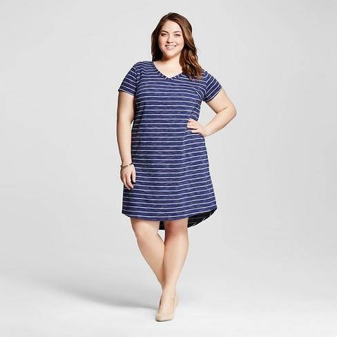 ba29b3cf09e Women s Plus Size T-Shirt Dress - Merona™ Navy 3X   Target