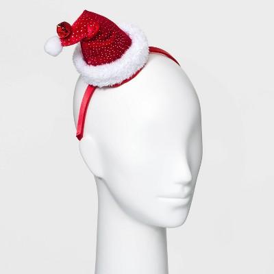 Holiday Novelty Shimmer Dot Santa Hat Headband - Red