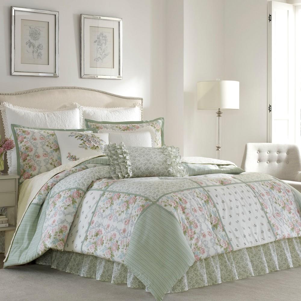 Green Harper Comforter Set (King) - Laura Ashley
