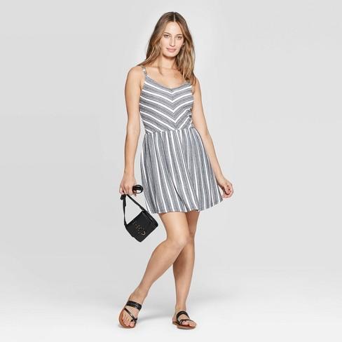 d664e0e3c0d Women s V-Neck Striped Knit Dress - Universal Thread™ Black White   Target