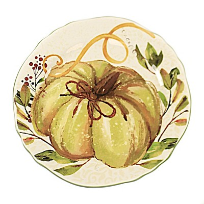 """Tabletop 11.0"""" Pumpkin And Leaf Plate Thanksgiving Scalloped Edge K & K Interiors  -  Dining Plates"""