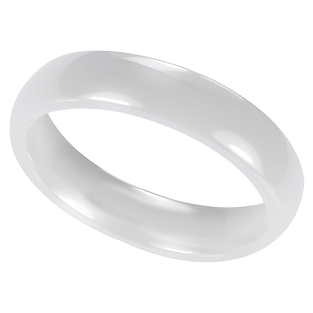 Men's Daxx Domed Band in Ceramic - White (7) (5mm)