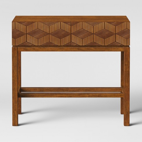 Tachuri Geometric Front Console Table Brown Opalhouse