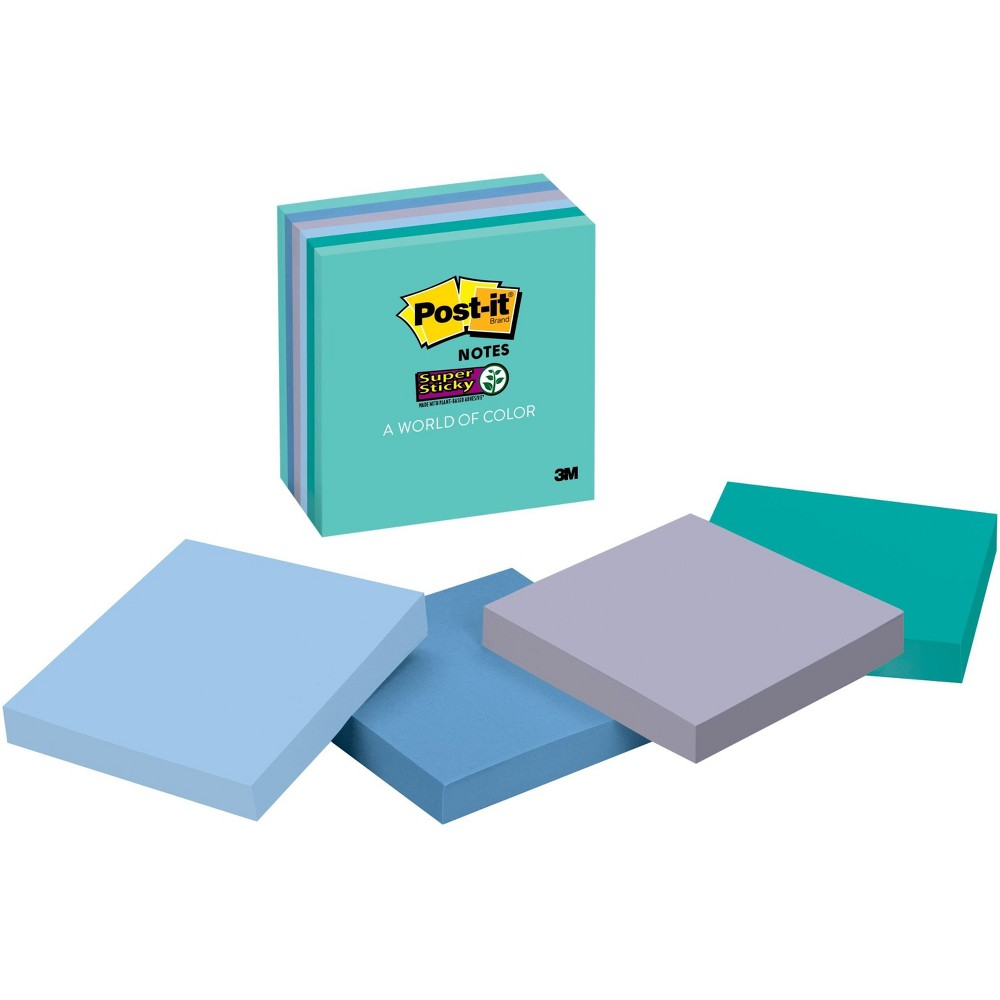 "Image of ""Post-it 3"""" x 3"""" 6pk 65 Sheets/Pad Super Sticky Notes - Assorted Blues and Greens"""
