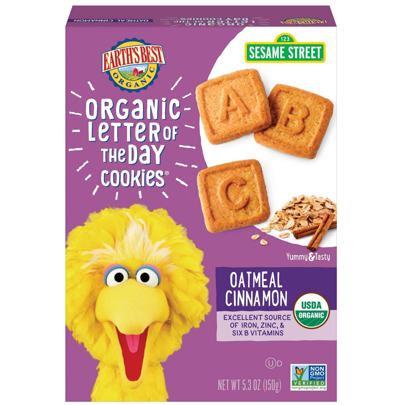 Earth's Best Organic Toddler Snacks Oatmeal Cinnamon LOTD Cookies - 5.3oz - image 1 of 4
