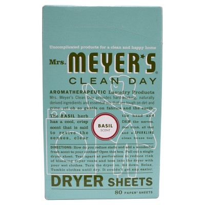 Mrs. Meyer's Clean Day Dryer Sheets, Basil, 80ct