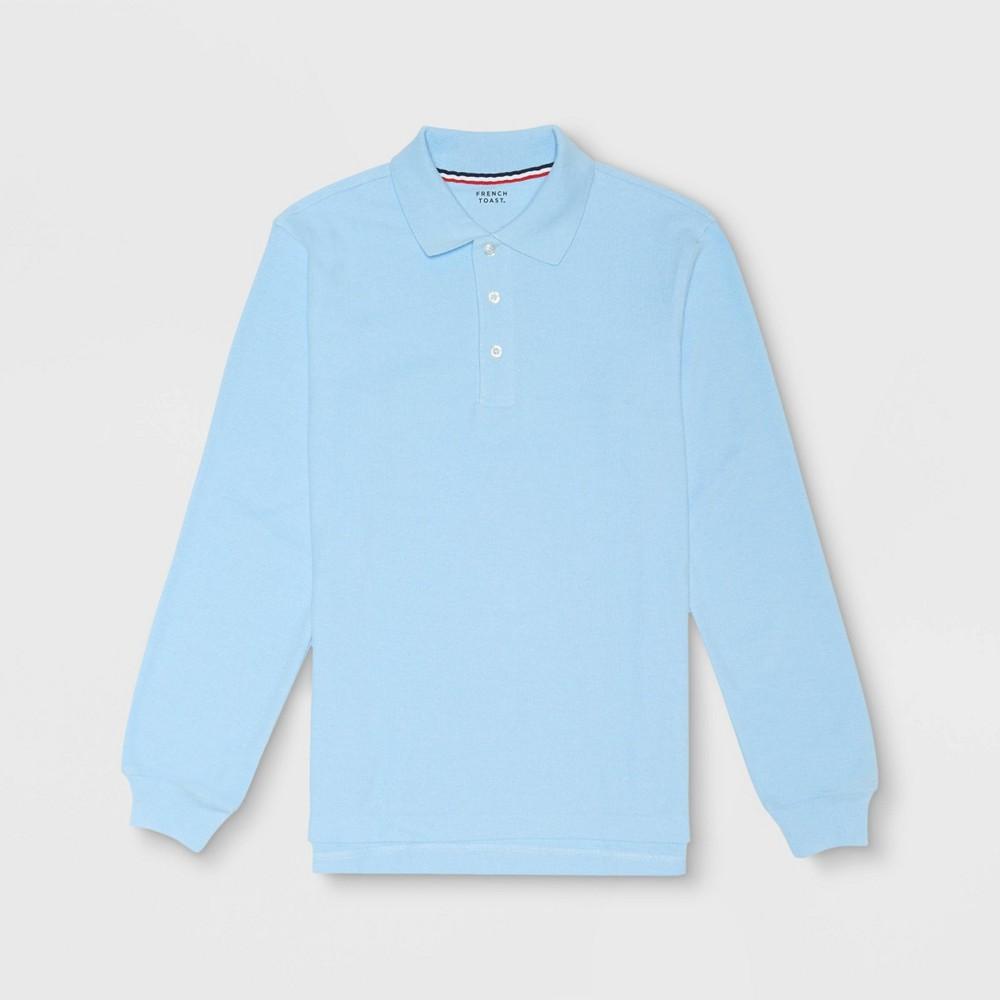 Image of French Toast Boys' Long Sleeve Pique Uniform Polo Shirt - Light Blue M, Boy's, Size: Medium