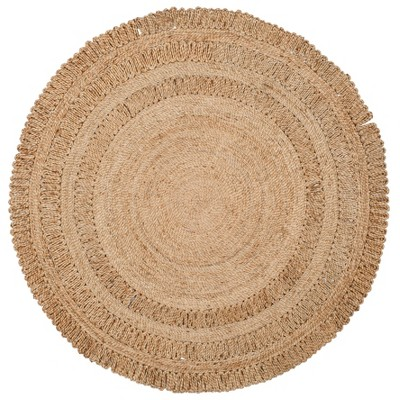 5' Solid Woven Round Area Rug Natural - Safavieh