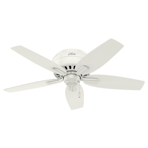 42 Newsome Low Profile Fresh White Ceiling Fan With Light Hunter