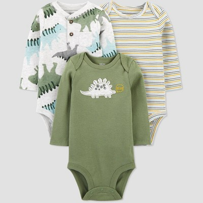 Baby Boys' 3pk Dino Long Sleeve Bodysuit - Just One You® made by carter's Green 18M