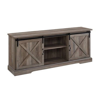 """Clarabelle Double Sliding X Barn Door TV Stand for TVs up to 80"""" - Saracina Home"""