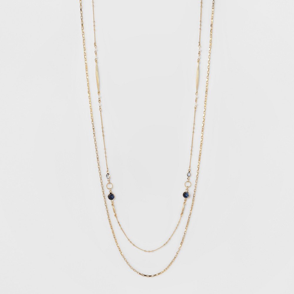 Image of Channels Double Long Necklace - A New Day Blue/Gold, Women's, Gold Blue