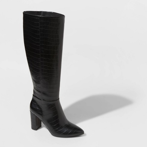 Women's Birgitte Animal Print Heeled Tall Fashion Boots - A New Day™ - image 1 of 3