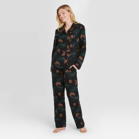 Women's Pine Cone Print Perfectly Cozy Flannel Long Sleeve Notch Collar Top and Pants Pajama Set - Stars Above™ Black - image 1 of 2