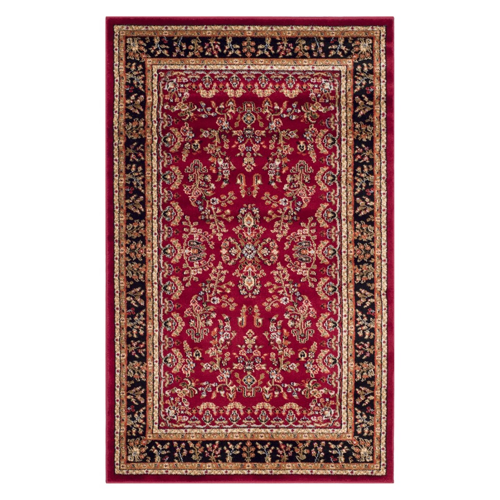 23X4 Floral Loomed Accent Rug Red/Black - Safavieh Best