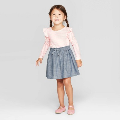 Toddler Girls' Long Sleeve A Line Dress   Cat & Jack Pink/Gray by Line Dress