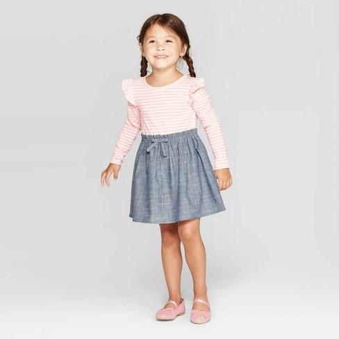 Toddler Girls' Long Sleeve A-Line Dress - Cat & Jack™ Pink/Gray - image 1 of 3