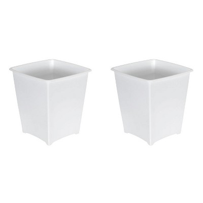 Rubbermaid 8 Quart Traditional Square Top Bedroom, Bathroom, and Office Wastebasket Trash Can, White (2 Pack)