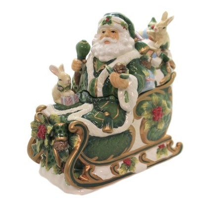 """Tabletop 10.75"""" Holly Santa Cookie Jar Woodland Rabbits Bunny Cosmos Gifts Corp.  -  Food Storage Containers"""