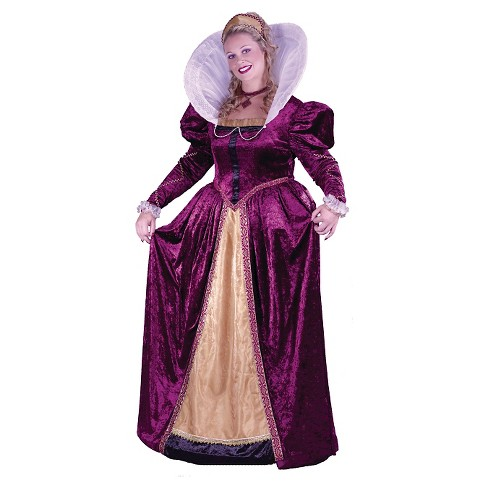 Women's Elizabethan Queen Costume Purple Plus - Large - image 1 of 1
