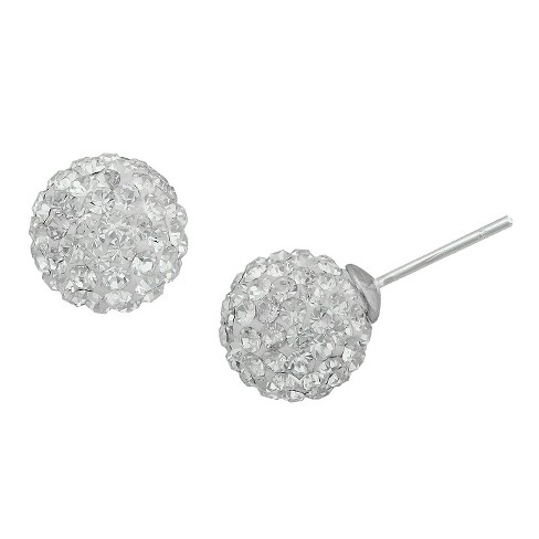 Women's Silver Plated Crystal 10mm Ball Stud-White - image 1 of 1