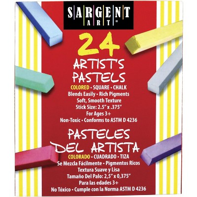 Sargent Art Square Chalk Pastel Set in Tray, 2-14/25 x 2/5 Inches, Assorted Colors, set of 24