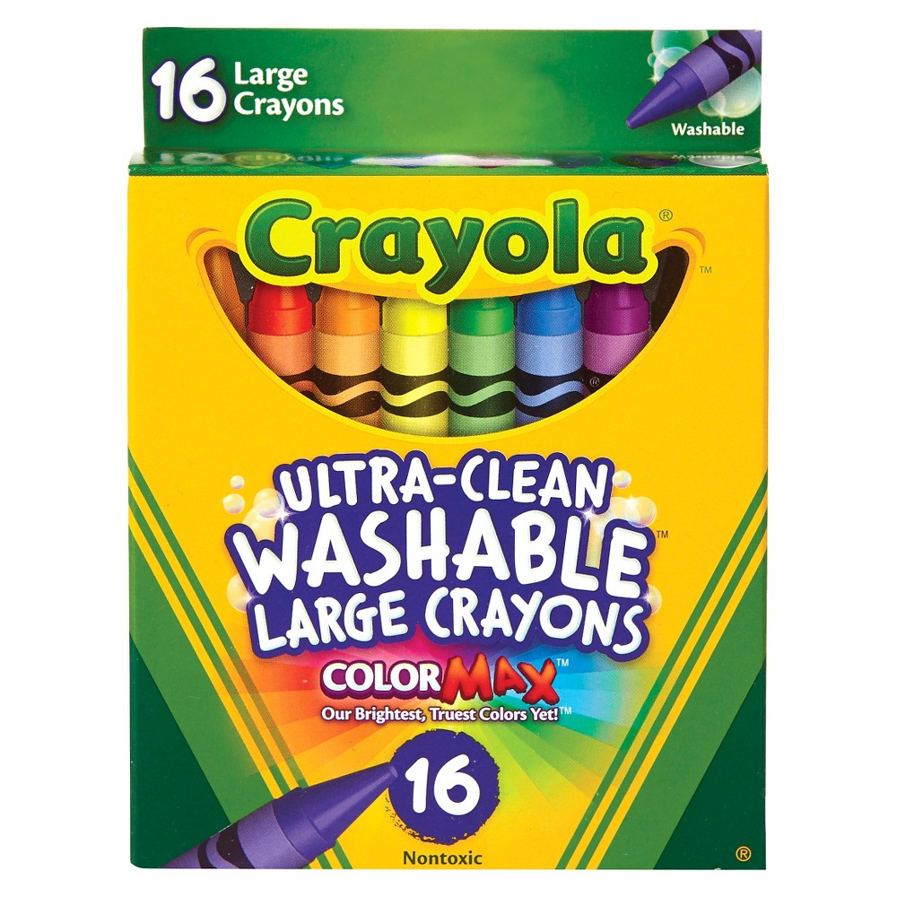 Crayola UltraClean Crayons Large Washable 16ct, Multi-Colored