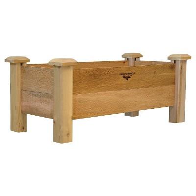 37.5  x 21  x 20.5  Rustic Rectangular Planter Box - Western Red Cedar - Gronomics