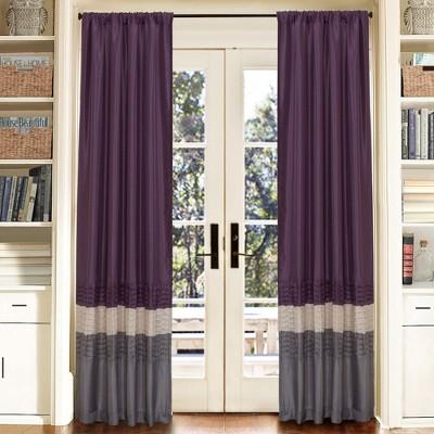 "Set of 2 84""x54"" Mia Window Curtain Panel Gray/Purple - Lush Décor"