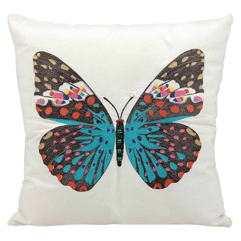 """Image of """"Blue Butterfly Indoor/Outdoor Throw Pillow (18""""""""x18"""""""") - Nourison"""""""