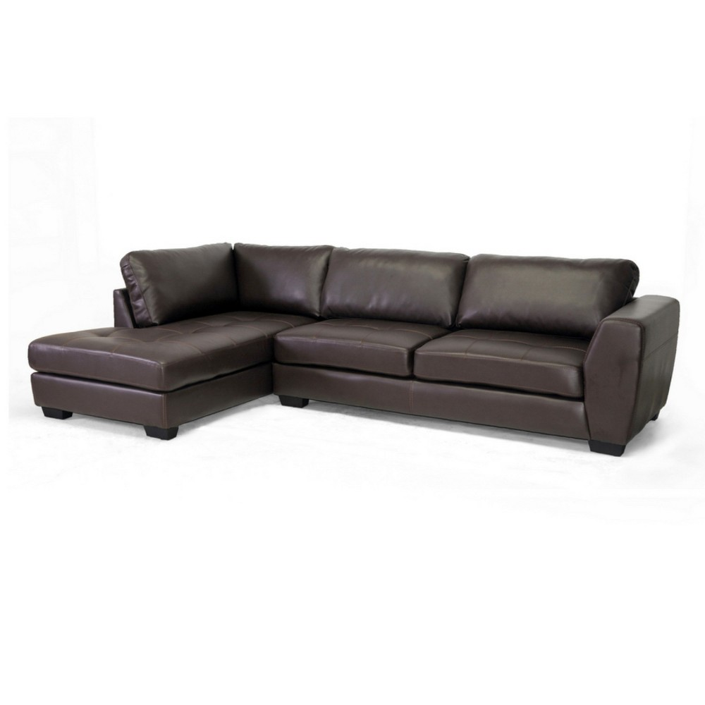 Orland Leather Modern Sectional Sofa Set with Left Facing Chaise Brown - Baxton Studio