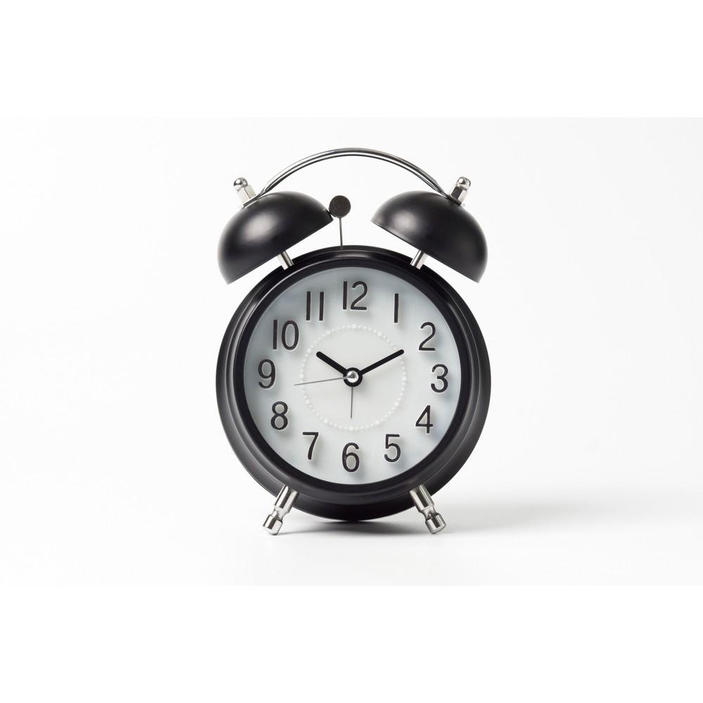 Vintage Modern Twin Bell Alarm Table Clock Black/Silver - Crosley