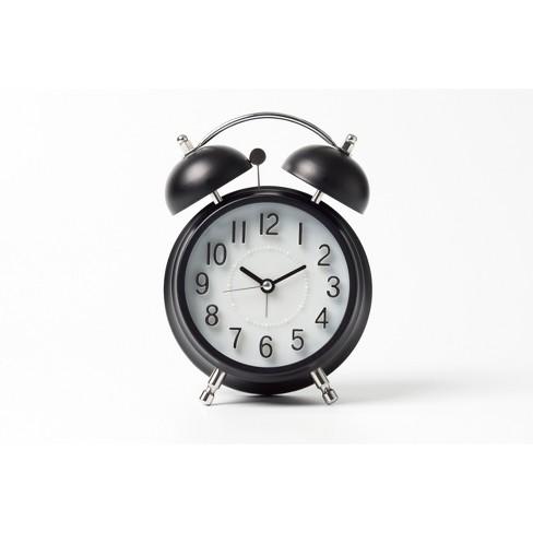 Vintage Modern Twin Bell Alarm Table Clock Black/Silver - Crosley - image 1 of 3