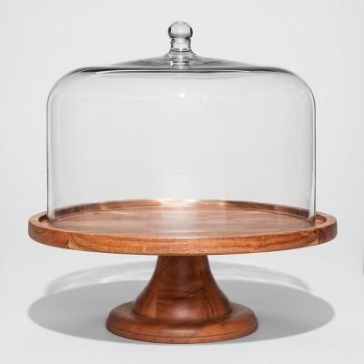 Round Glass & Wood Dessert Stand - Threshold™