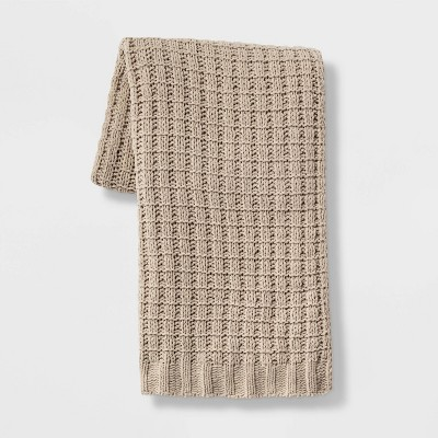 Solid Chenille Throw Blanket Tan - Threshold™