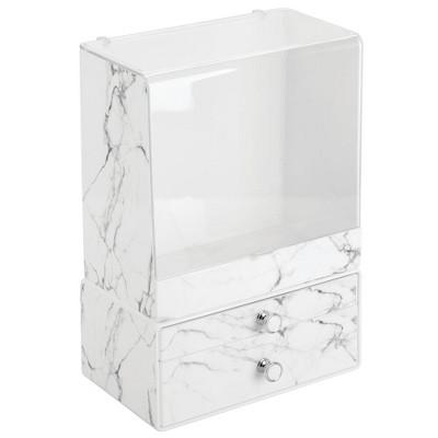 mDesign Decorative Bathroom Vanity Makeup Storage Organizers, Set of 2 - Marble