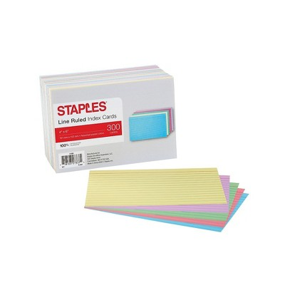 """Staples Ruled 4"""" x 6"""" Index Cards Assorted Pastel 300/Pack (51000) TR51000"""