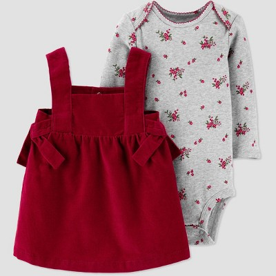 Baby Girls' 2pc Cord Bodysuit & Dress Set - Just One You® made by carter's Red/Gray 3M