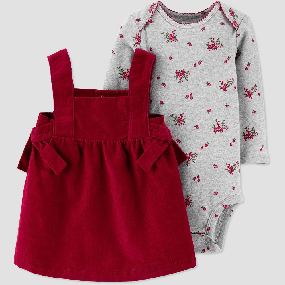 Image of Baby Girls' 2pc Cord Bodysuit & Dress Set - Just One You made by carter's Red/Gray 12M, Kids Unisex, Gray/Red