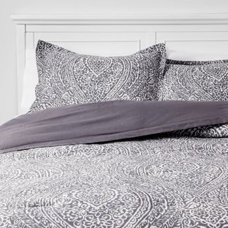 Full/Queen Paisley Ogee Comforter Set Gray - Threshold™