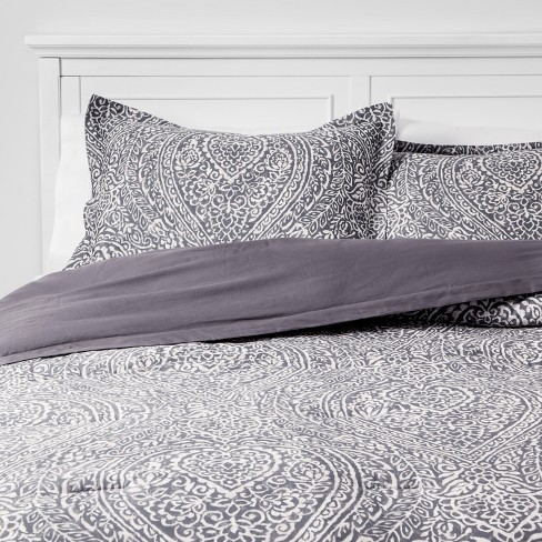 Paisley Ogee Comforter Set Gray - Threshold™ - image 1 of 4