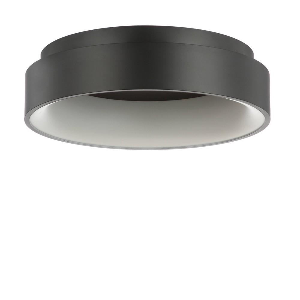 17.75 Ring Integrated Led Metal Flush Mount Ceiling Light Black (Includes Energy Efficient Light Bulb) - Jonathan Y