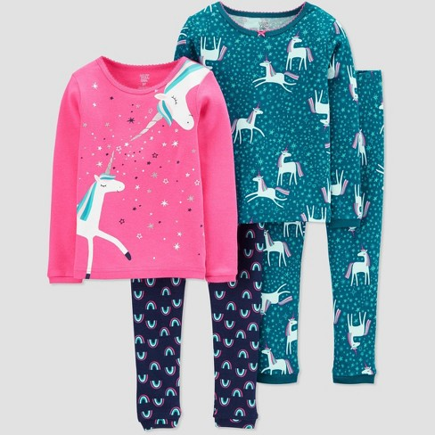 Toddler Girls' 4pc Unicorn Pajama Set - Just One You® made by carter's Pink - image 1 of 1