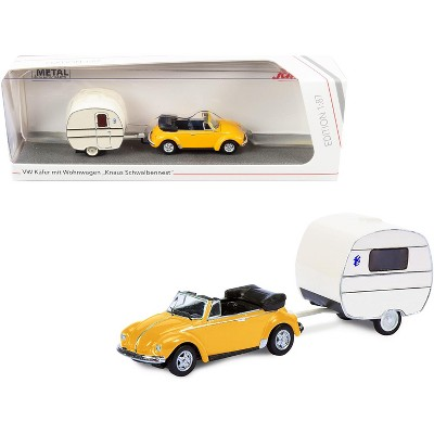 Volkswagen Kafer Convertible Yellow with Knaus Schwalbennest Travel Trailer Cream 1/87 (HO) Diecast Model Car by Schuco