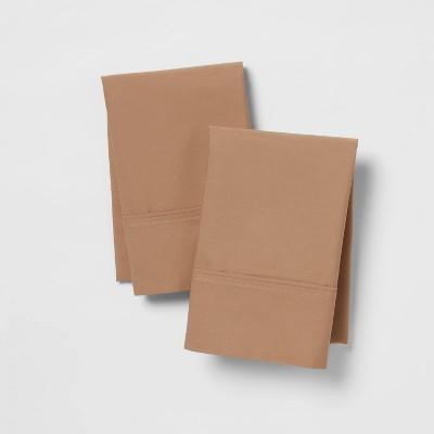 King 300 Thread Count Ultra Soft Pillowcase Set Brown - Threshold™